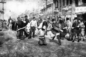 Flagrante de decapitação durante o massacre de Nanquim