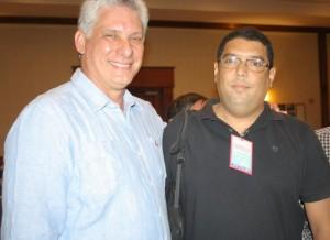 O vice-presidente cubano Diaz-Canel e o representante do PCdoB Wevergton Brito
